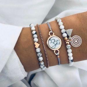 Jewelry - White gold Boho 4-piece stacking bracelet set